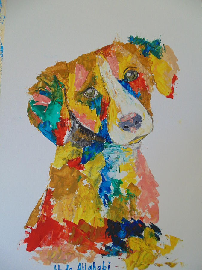 Dog Painting - Dog Beautiful Color by Abdo Allahabi