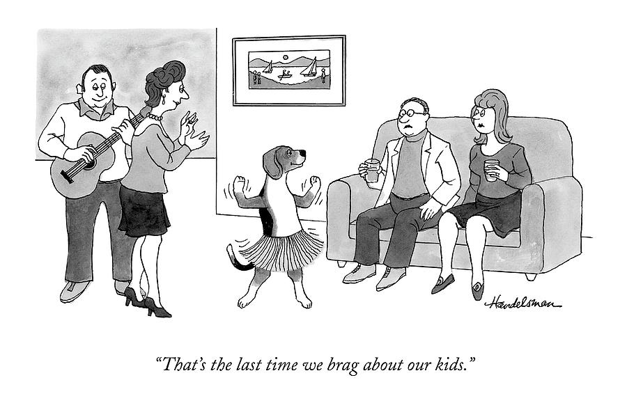 Dog Dancing In A Hula Dress At A Party Drawing by J.B. Handelsman