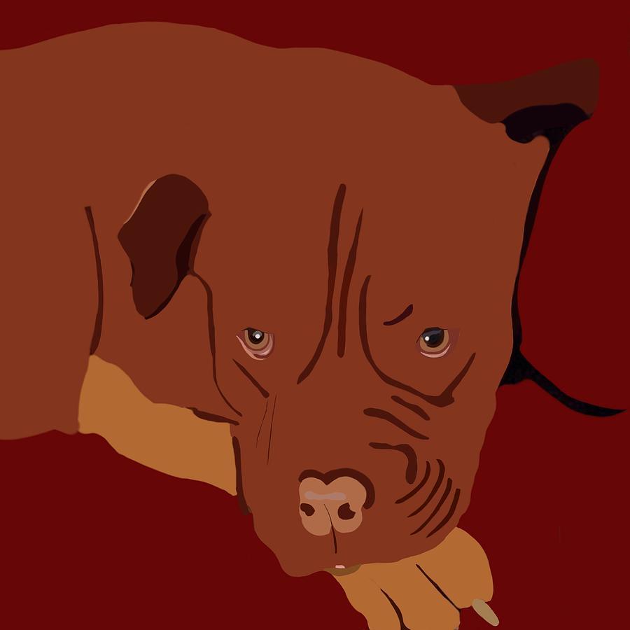 Dogs Painting - Dog De Bourdeaux Art by Karen Harding