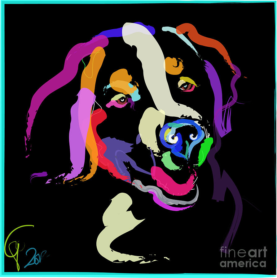 Dog Iggy Color Me Bright Painting By Go Van Kampen