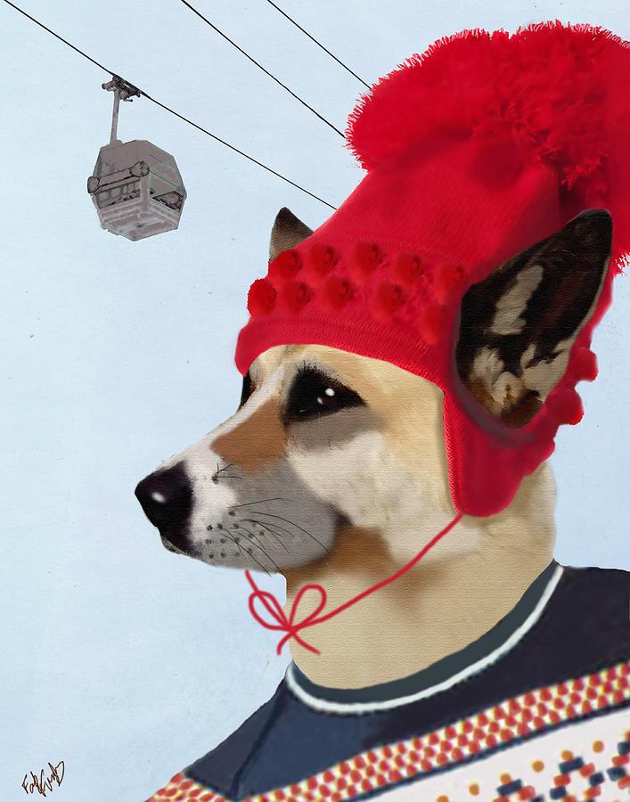 Dog Framed Prints Digital Art - Dog In A Ski Jumper by Kelly McLaughlan