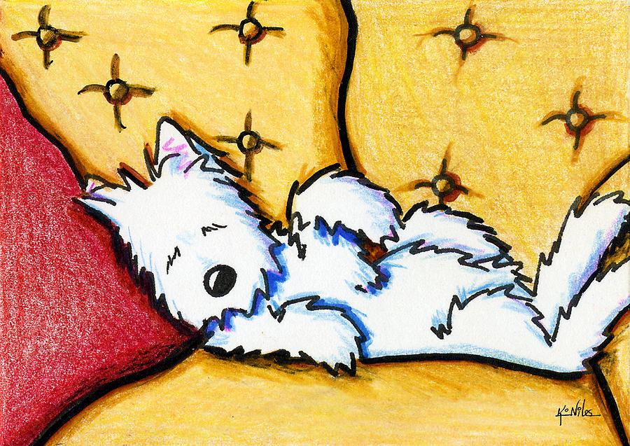 Dog Drawing - Dog Napped by Kim Niles