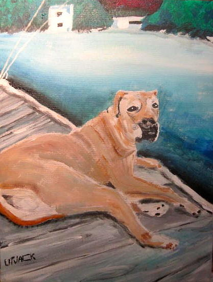 Boxer Dog Painting - Dog On Dock by Michael Litvack