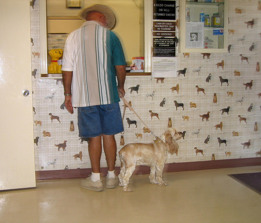Dog Owner Dog Vet's Office Casa Grande Arizona 2004 Photograph - Dog Owner Dog Vets Office Casa Grande Arizona 2004 by David Lee Guss