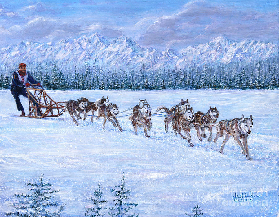 Dog Sled Racing Painting By Leroy Jesfield