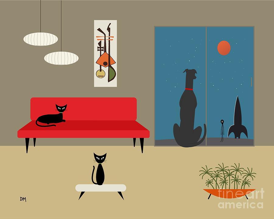 Dog Spies Alien Digital Art by Donna Mibus