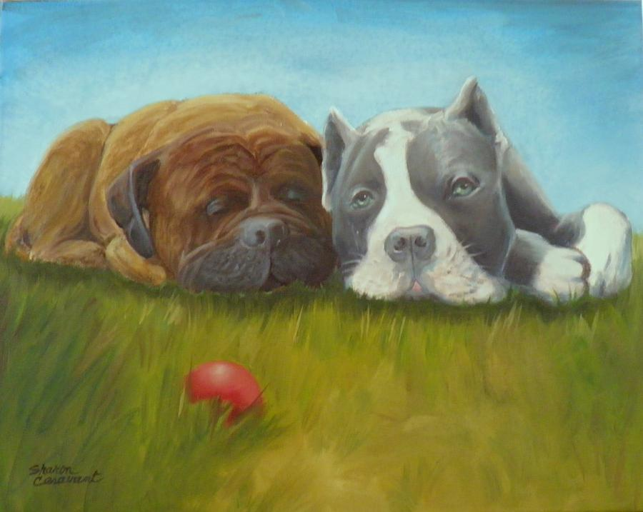 Dog Painting - Dog Tired by Sharon Casavant
