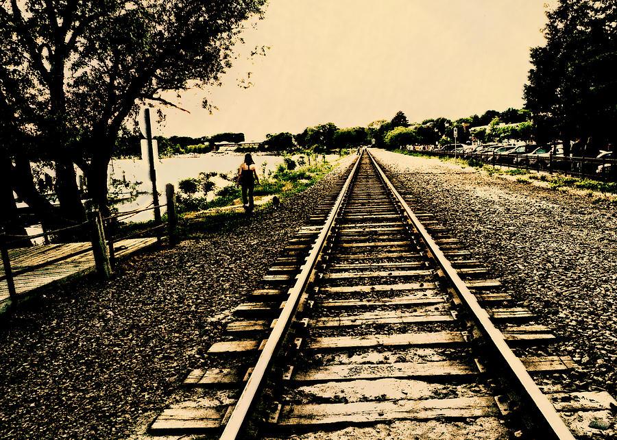 Wayzata Digital Art - Dog Walk Along The Wayzata Train Tracks by Susan Stone