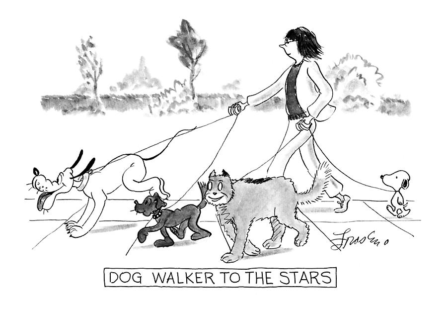 Dog Walker To The Stars Drawing by Edward Frascino