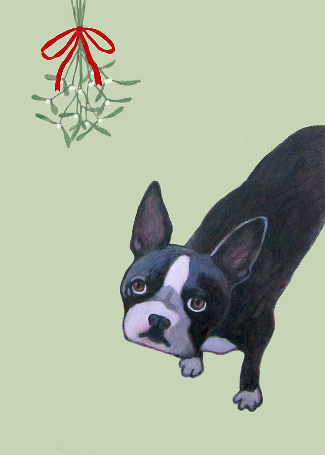 Dog With Mistletoe For Christmas Cards Painting by Kazumi Whitemoon
