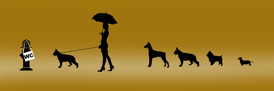Dogs Digital Art - Doggie Queue by Peter Stevenson