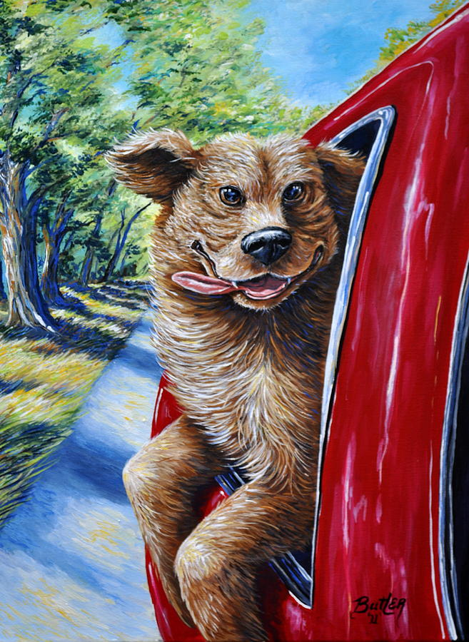 Dog Gone Happy Painting By Gail Butler