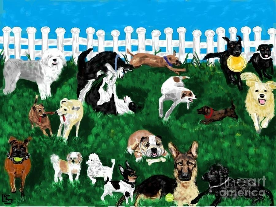Dogs Painting - Doggy Daycare by LCS Art