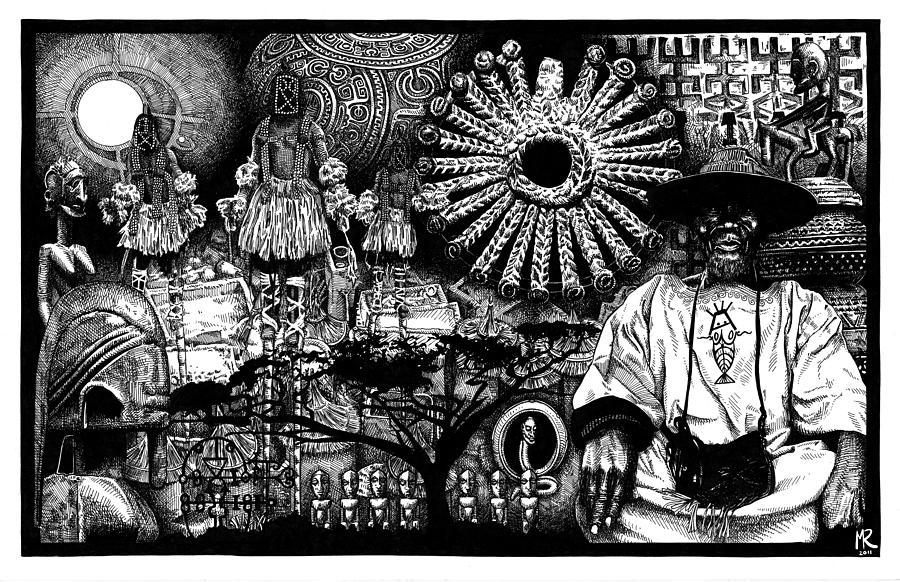 Dogon Drawing - Dogon Dream by Matthew Ridgway