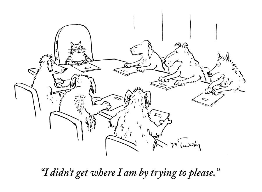 Meeting Drawing - Dogs At A Meeting by Mike Twohy