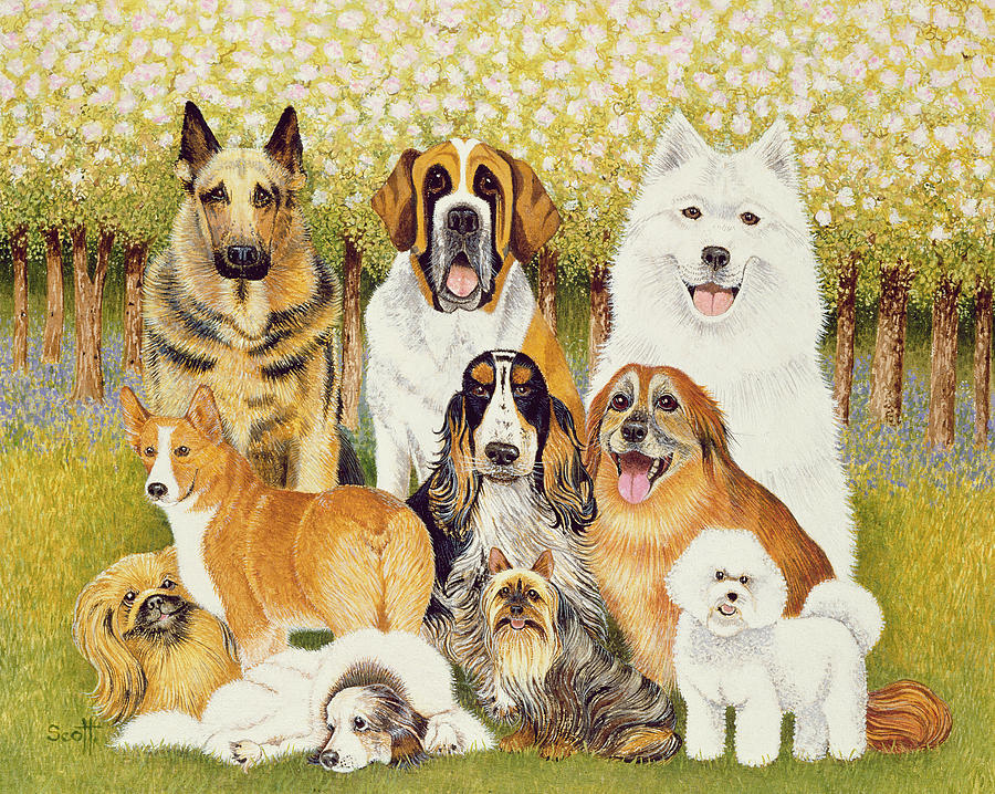 Dog Painting - Dogs In May by Pat Scott