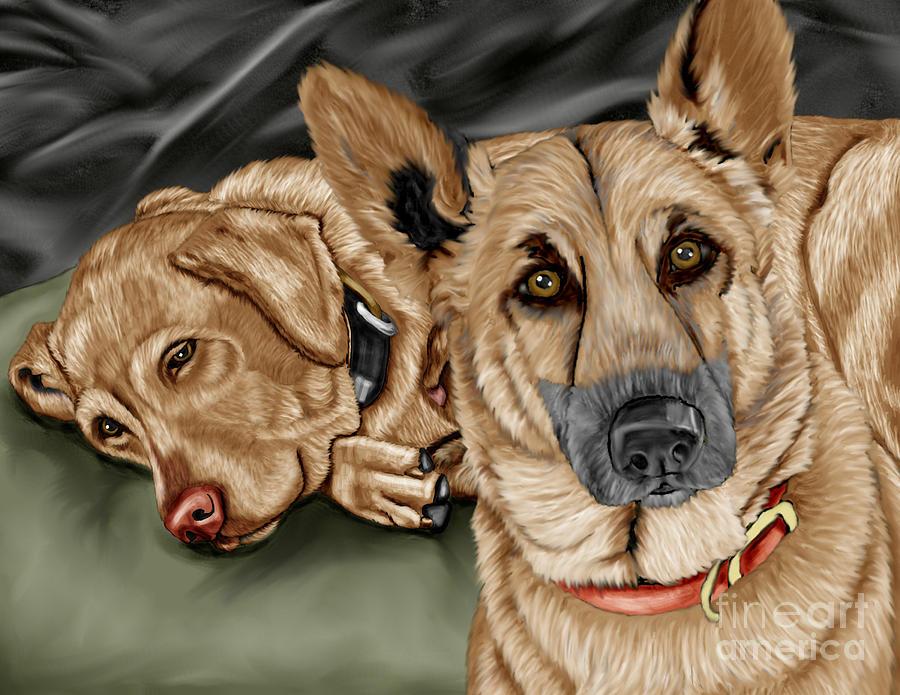German Shepherd Painting - Dogs by Karen Sheltrown