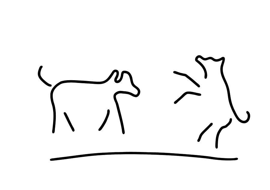 Dogs Play Domestic Animal Drawing