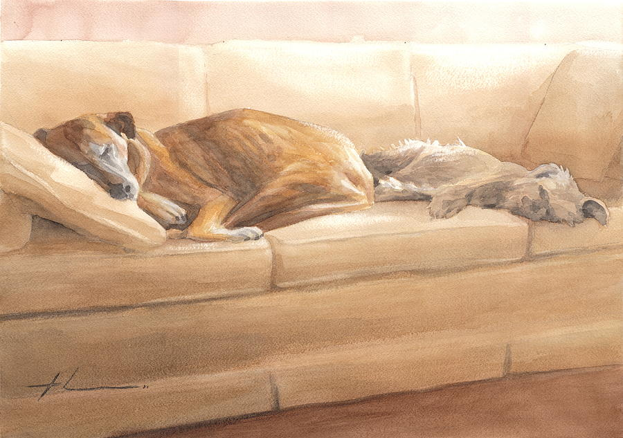 Dogs Sleeping On Couch Watercolor Portrait Painting by Mike Theuer