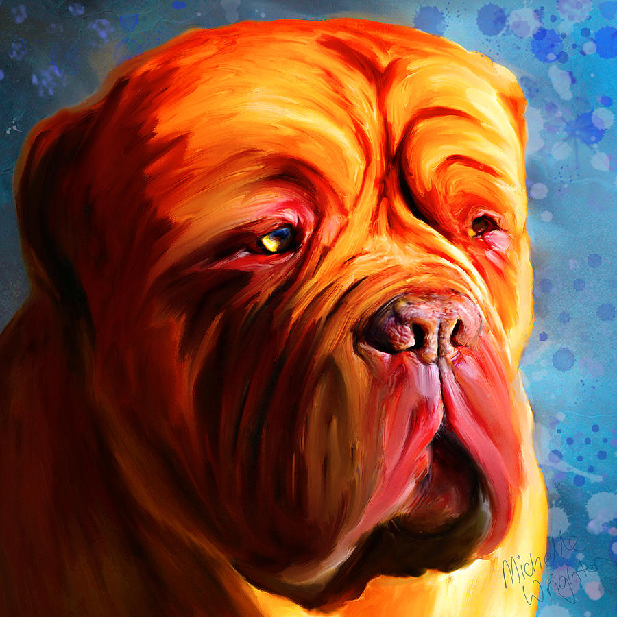 Dog Painting - Vibrant Dogue De Bordeaux Painting On Blue by Michelle Wrighton