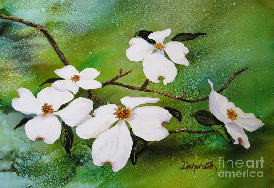 Dogwood Painting - Dogwood Blossoms by Diane Marcotte