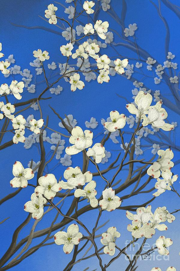 dogwood trees painting by nancy long