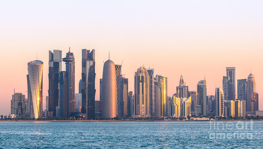 Doha Skyline At Sunrise Qatar Photograph By Matteo Colombo