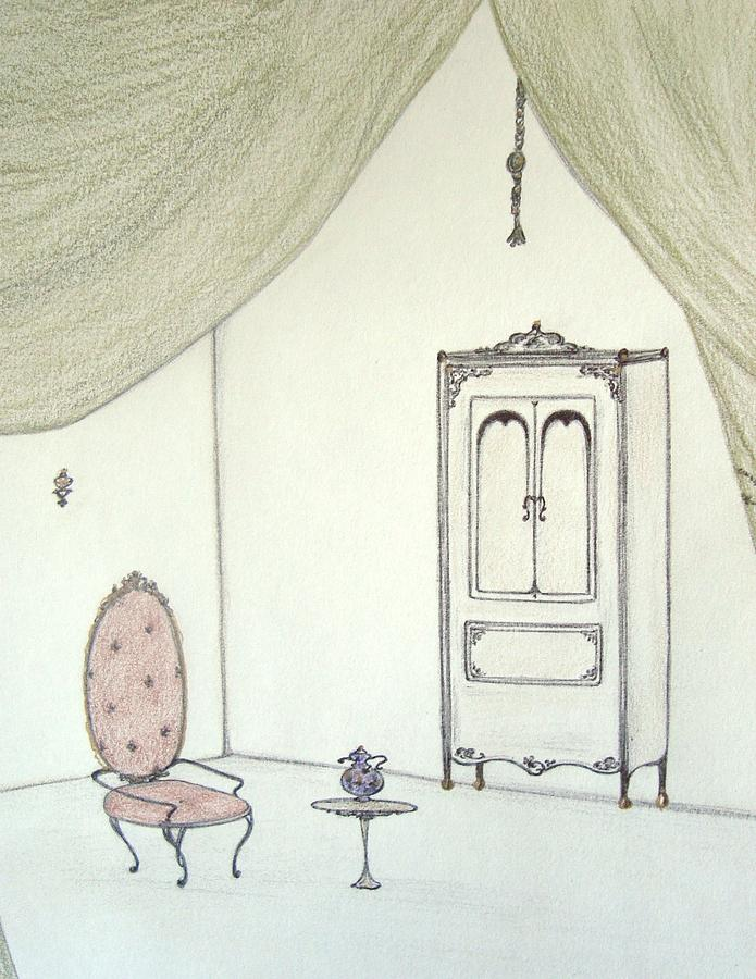 Doll House Drawing - Doll House Interior by Christine Corretti