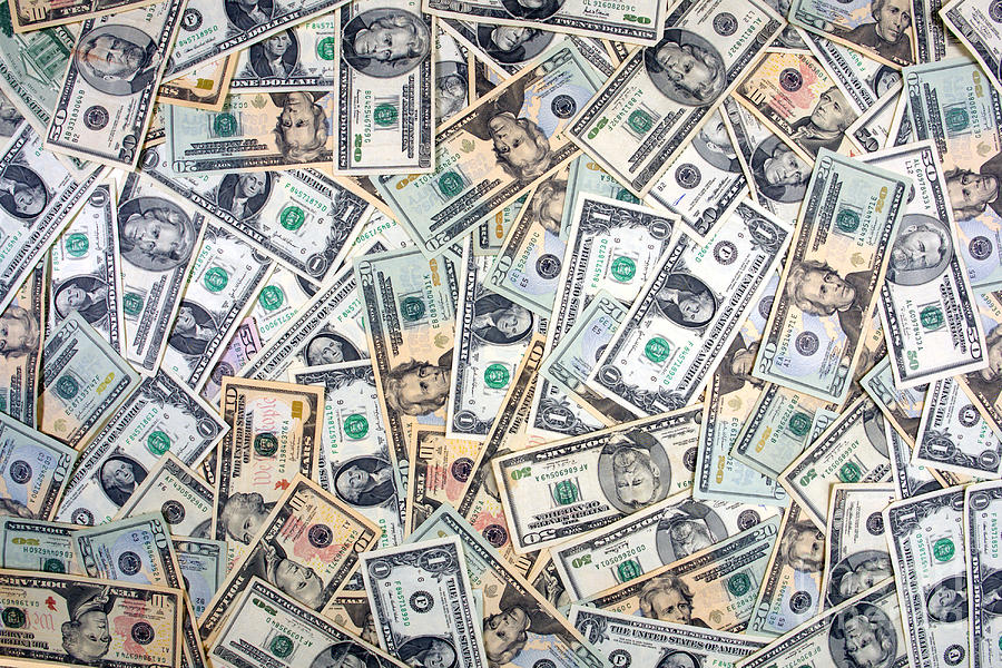 Cash Photograph - Dollar Background by Olivier Le Queinec