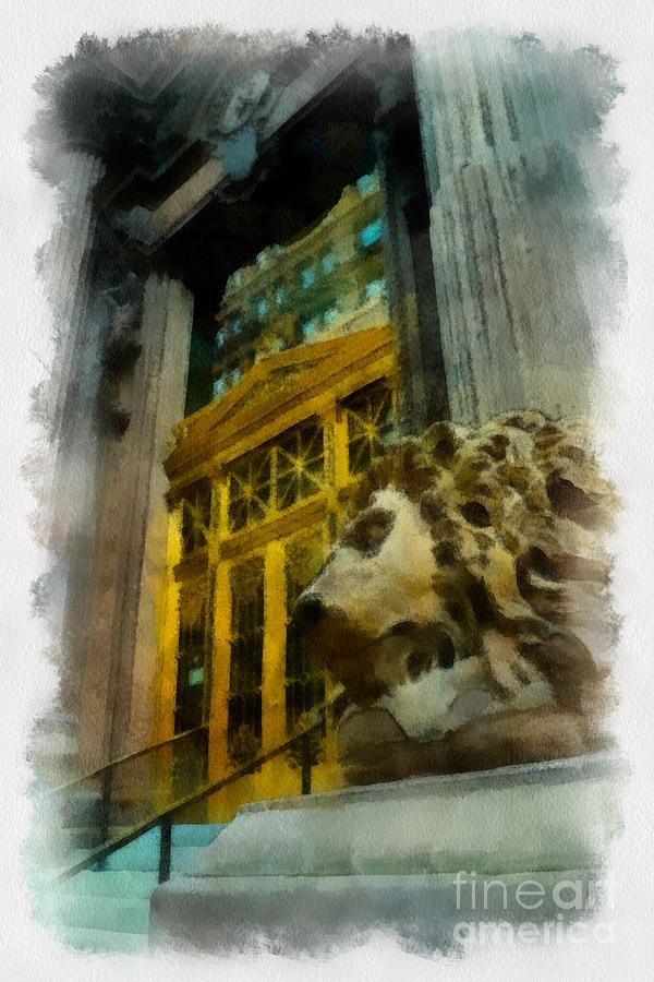 Dollar Bank Digital Art - Dollar Bank Lion Pittsburgh by Amy Cicconi