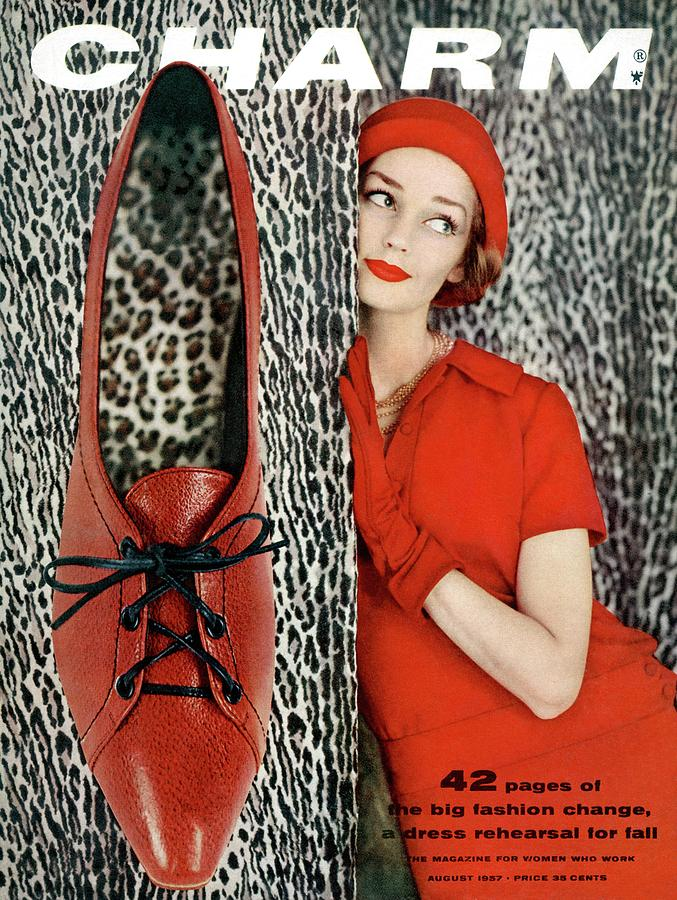 Dolores Hawkins Wears A Dachettes Hat And Red Photograph by Carmen Schiavone