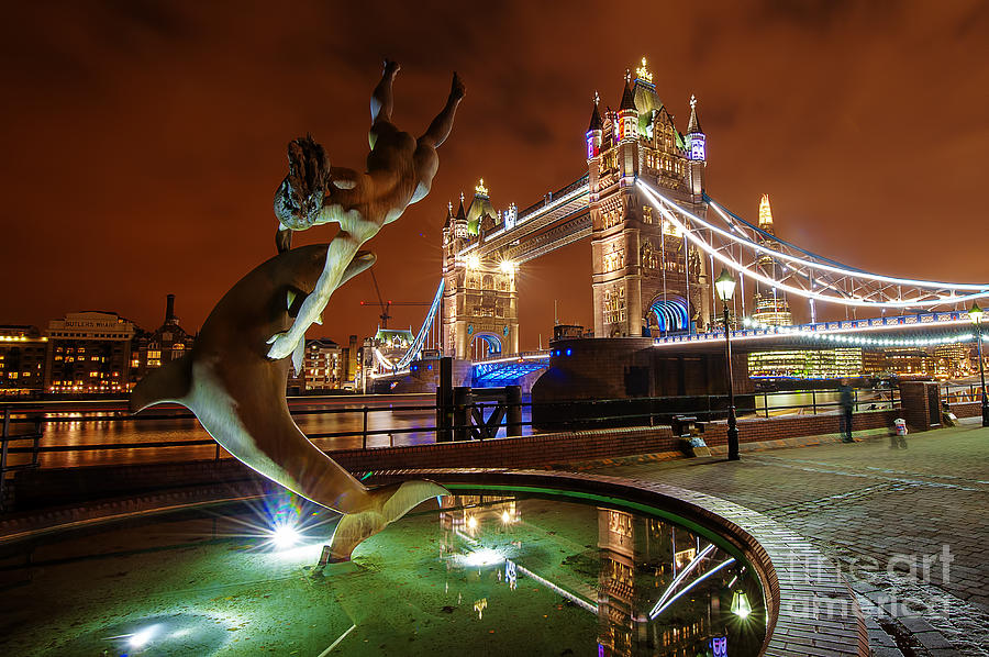 Central London Photograph - Dolphin Fountain Tower Bridge London by Donald Davis