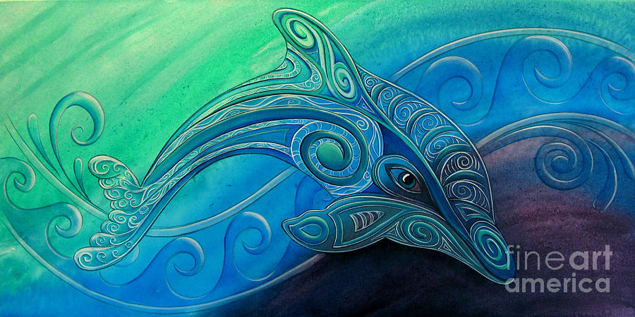 Dolphin Painting - Dolphin Wha by Reina Cottier