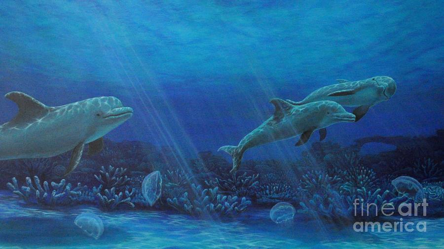 Seascape Painting - Dolphins And Moon Jellyfish by J Barth