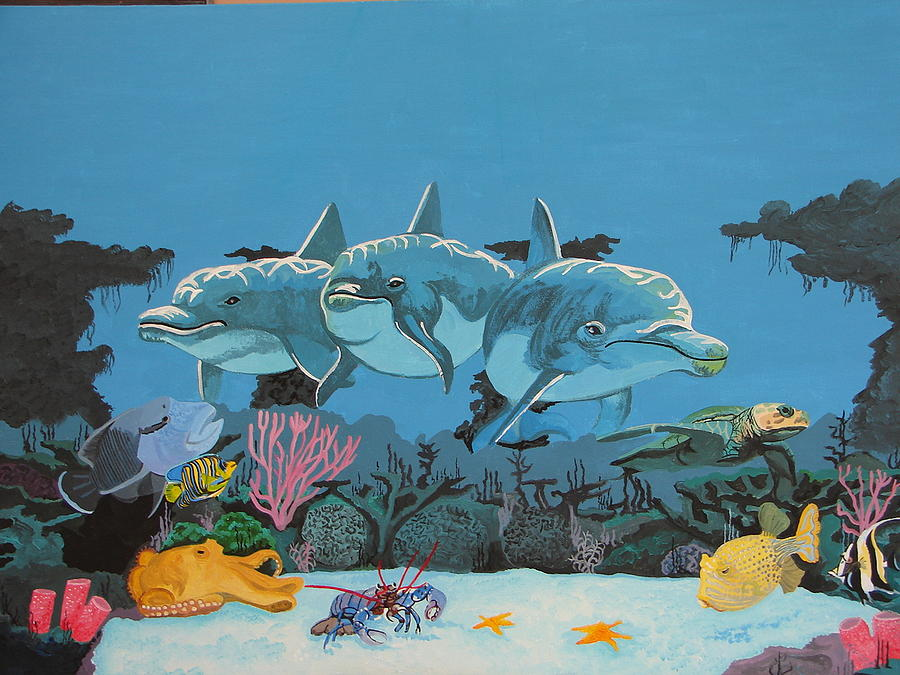 Dolphins Cove Painting by David Ellis
