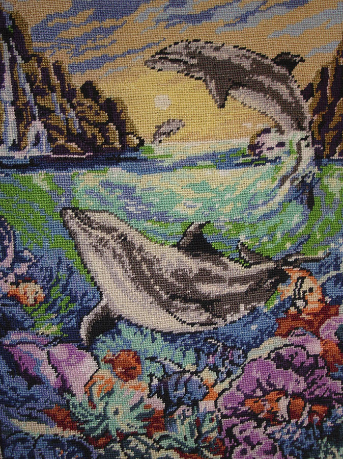 Dolphins Tapestry - Textile - Dolphins Game by Eugen Mihalascu