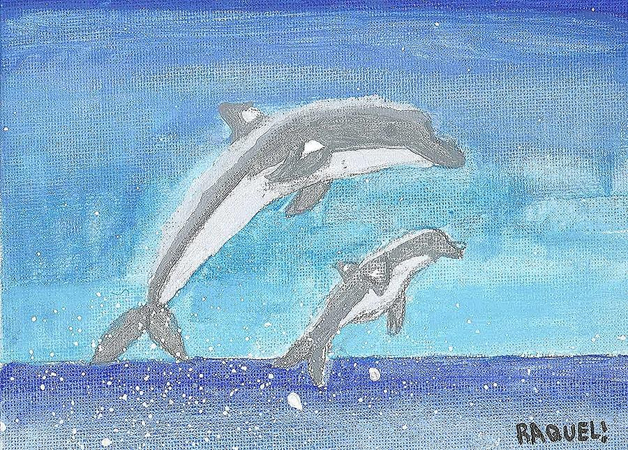 Dolphins Painting - Dolphins Jumping by Fred Hanna