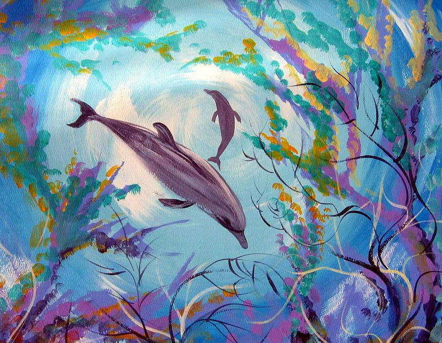 могу рисунки гуашью дельфины была