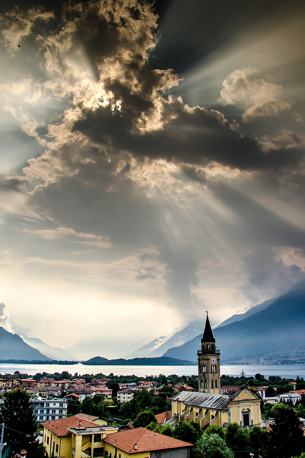 Sun Photograph - Domaso Sunrays by Jeffrey Teeselink