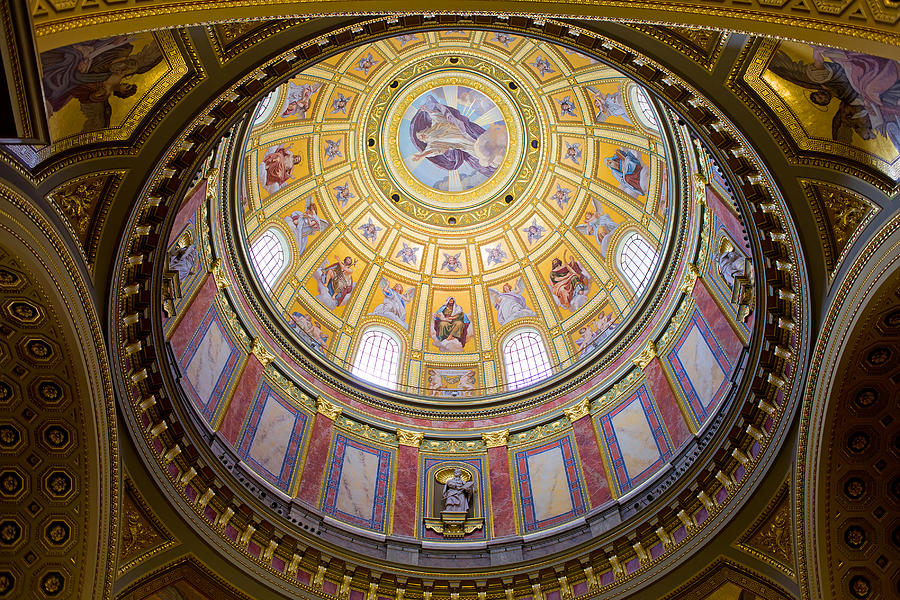 Basilica Photograph - Dome Interior Of The St Stephen Basilica In Budapest by Artur Bogacki