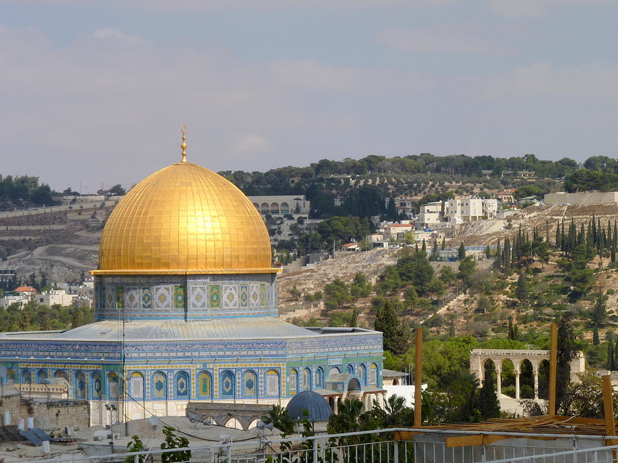 Dome of the Rock with  Mount of Olives in the background by Rita Adams