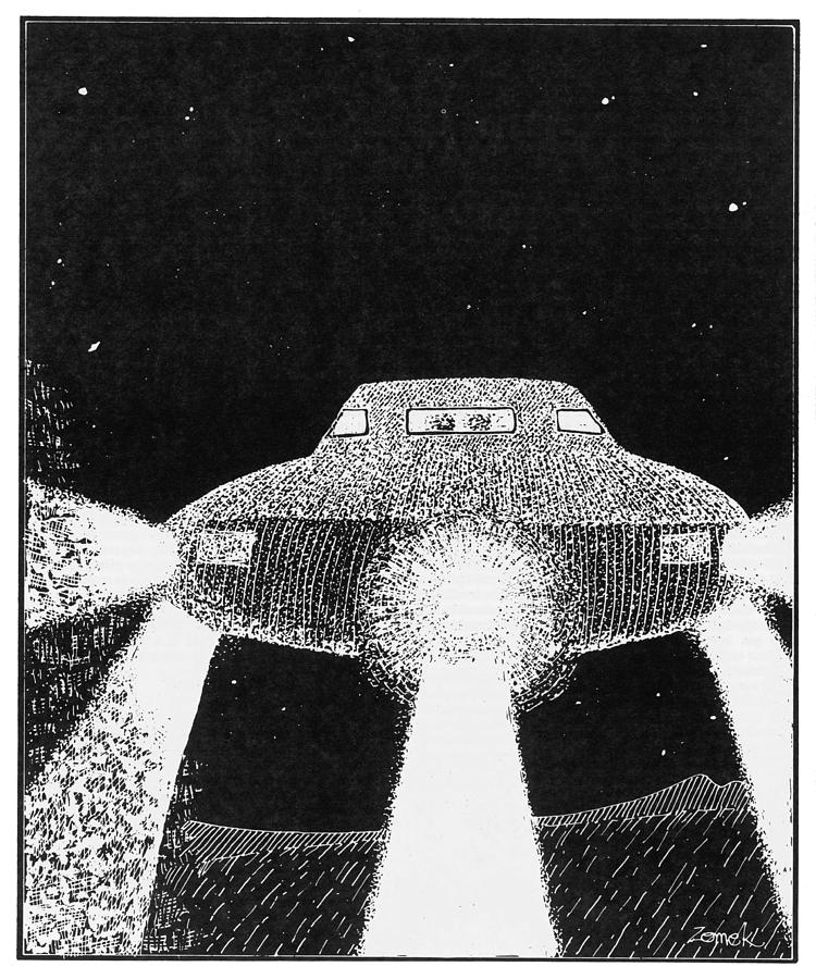 Ufos Drawing - Domed Disc Seen By Frank  Slotta by Mary Evans Picture Library
