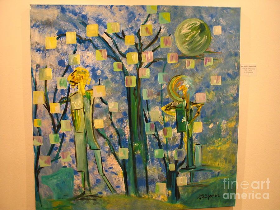 Don Quijote Y Su Amigo Sancho En Preguntas Sin Respuesta Painting by Adriana silvia Sherem