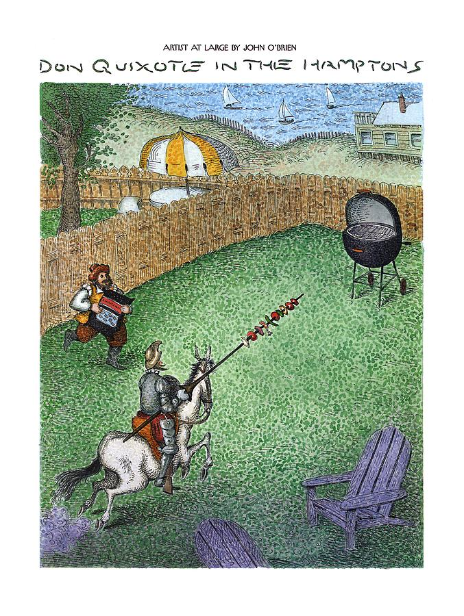 Don Quixote In The Hamptons Drawing by John OBrien