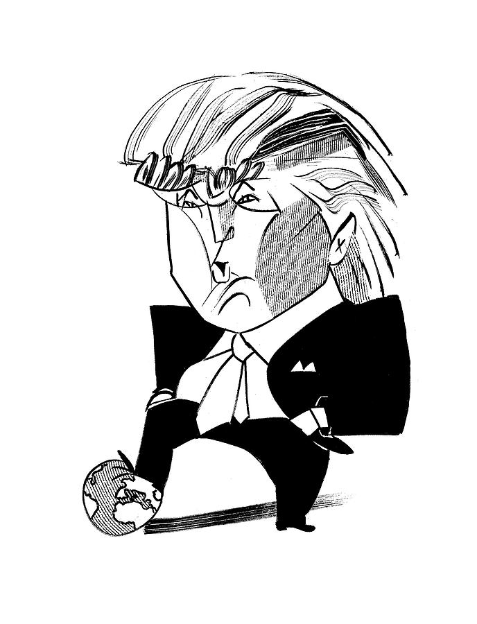 Donald Trump Globe Drawing by Tom Bachtell