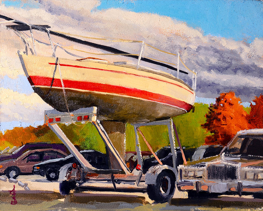 Boat Painting - Done For The Summer by Anthony Sell