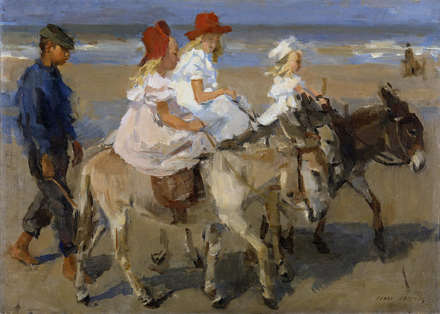 Israels Painting - Donkey Rides Along The Beach by Isaac Israels