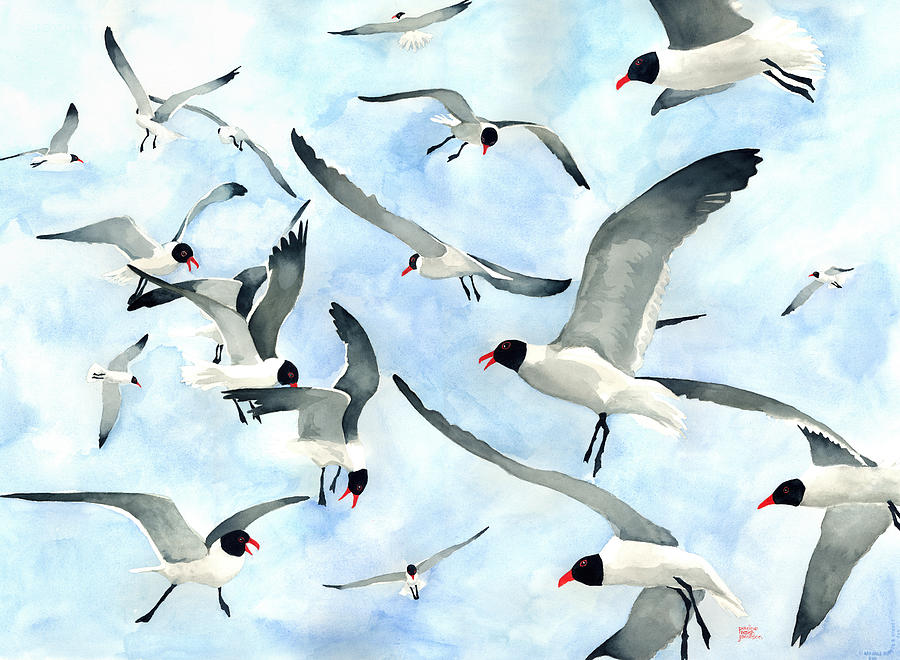 Seagulls Painting - Dont Feed The Seagulls by Pauline Walsh Jacobson