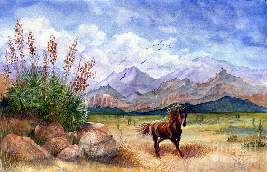 Mustang Painting - Dont Fence Me In by Marilyn Smith