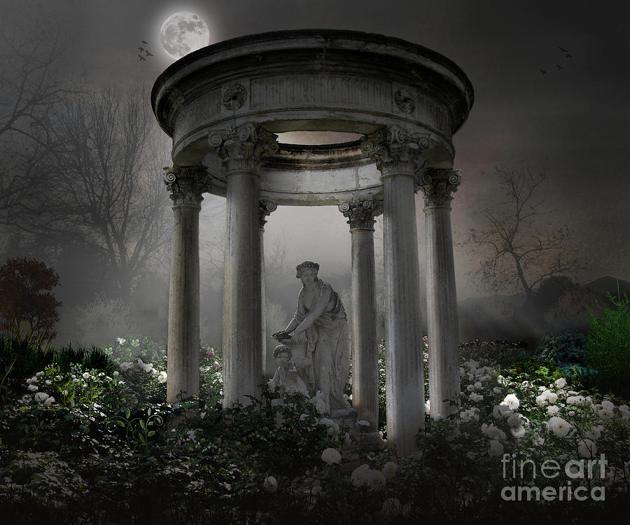 Photo Photograph - Dont Wake Up My Sleepy White Roses - Moonlight Version by Peter Awax
